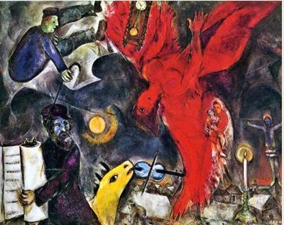 Το ξεκίνησε το 1923 και ολοκληρώθηκε το 1947. Έχει ενσωματώσει μοτίβα που θυμίζουν τον ρωσικό κόσμο του. Είναι μια στοιχειωτική αλληγορία για τις θηριωδίες του Ολοκαυτώματος. Ξεχωριστό ενδιαφέρον έχει το γεγονός πως, στη μία γωνία του καμβά, βρίσκεται ο Εσταυρωμένος, κάτι που δείχνει ότι ο Marc Chagall θεωρούσε το «Shoa» ως παναθρώπινη τραγωδία, όχι μόνο εβραϊκή.